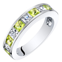 1 Carat Sterling Silver Princess Cut Peridot Half Eternity Wedding Ring