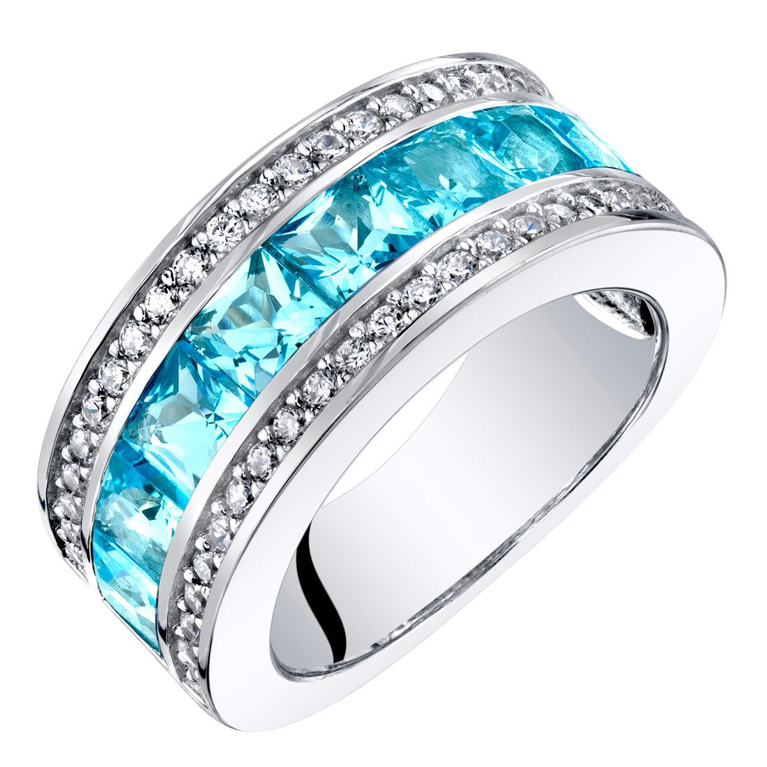 This is a picture of Sterling Silver Princess Cut Swiss Blue Topaz 35-Row Wedding Ring Band 35.355 Carats