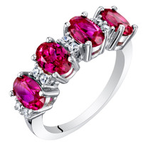Sterling Silver Oval Cut Created Ruby Anniversary Ring Band 2 Carats
