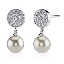 Sterling Silver Celebrity style CZ Disc Studs with Drop White Faux Pearls Style MDE1204