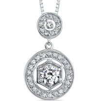 Sterling Silver Art Deco Inspired Vintage Style Pendant with CZ Style MDP1236