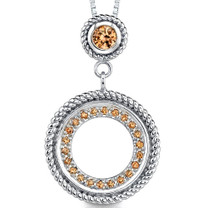 Sterling Silver Circle Pendant with Champagne CZ Style MDP1252