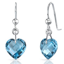Classy 8.25 carats Heart Shape Genuine London Blue Topaz earrings in Sterling Silver Style SE7090
