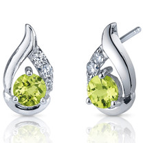 Radiant Teardrop 1.00 Carats Peridot Round Cut CZ Earrings in Sterling Silver Style SE7316
