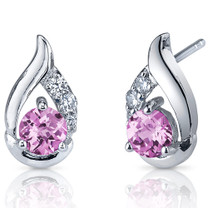 Radiant Teardrop 1.50 Carats Pink Sapphire Round Cut CZ Earrings in Sterling Silver Style SE7326