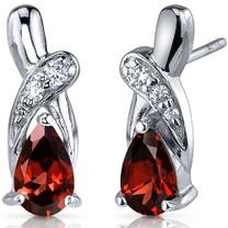 Graceful Glamour 2.00 Carats Garnet Pear Shape CZ Earrings in Sterling Silver Style SE7422