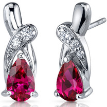 Graceful Glamour 2.00 Carats Ruby Pear Shape CZ Earrings in Sterling Silver Style SE7430