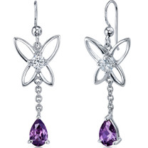 Butterfly Design 2.00 Carats Alexandrite Pear Shape Dangle CZ Earrings in Sterling Silver Style SE7454