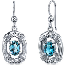 Antique Style 1.75 Carats London Blue Topaz Oval Cut Dangle CZ Earrings in Sterling Silver Style SE7482