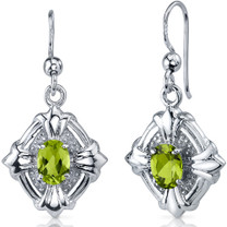 Victorian Design 1.50 Carats Peridot Oval Cut Dangle CZ Earrings in Sterling Silver Style SE7496