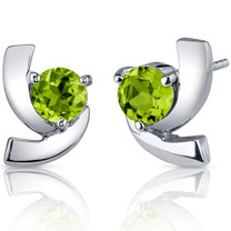 Illuminating 2.00 Carats Peridot Round Cut Earrings in Sterling Silver Style SE7586