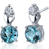 Gleaming Heart 2.00 Carats London Blue Topaz Round Cut CZ Earrings in Sterling Silver Style SE7608
