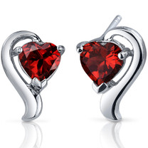 Cupids Harmony 2.00 Carats Garnet Heart Shape Earrings in Sterling Silver Style SE7746