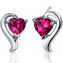 Cupids Harmony 2.00 Carats Ruby Heart Shape Earrings in Sterling Silver Style SE7754