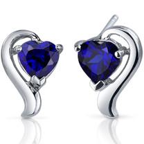 Cupids Harmony 2.00 Carats Blue Sapphire Heart Shape Earrings in Sterling Silver Style SE7756
