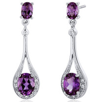 Glamorous 5.00 Carats Alexandrite Oval Cut Dangle Diamond CZ Earrings in Sterling Silver Style SE7940