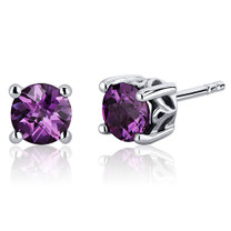 Scroll Design 2.50 Carats Alexandrite Round Cut Stud Earrings in Sterling Silver Style SE7958