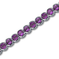 Awesome 16.00 carats Round Cut Amethyst Gemstone Tennis Bracelet in Sterling Silver Style SB2746