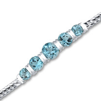 5.00 carats Round Cut Swiss Blue Topaz Bracelet in Sterling Silver Style sb2786
