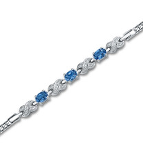 1.75 Carats Oval Cut London Blue Topaz & White CZ Bracelet in Sterling Silver Style sb2804