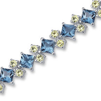 17.50 Carats Princess & Round Cut London Blue Topaz Peridot Bracelet in Sterling Silver Style SB2988