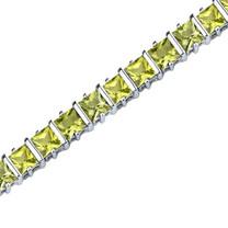 12.25 Carats Princess Cut Peridot Bracelet in Sterling Silver Style SB3660