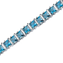 13.25 Carats Princess Cut London Blue Topaz Bracelet in Sterling Silver Style SB3662