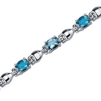 5.50 Carats Oval Shape London Blue Topaz Bracelet in Sterling Silver Style SB3748