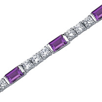 4.25 Carats Baguette Cut Amethyst & White CZ Bracelet in Sterling Silver Style SB3754