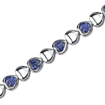 Lovely Fantasy: Round Shape Blue Sapphire Gemstone Bracelet in Sterling Silver Style SB3790