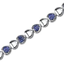 Lovely Fantasy: Round Shape Blue Sapphire Gemstone Bracelet in Sterling Silver Style SB3790