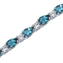 13.00 Carats Pear Shape London Blue Topaz & White CZ Bracelet in Sterling Silver Style SB3798