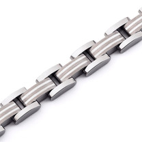 Art Deco Sterling Silver Inlay Titanium Mens Bracelet Style SB4200