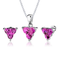 Ultimate Dream: 10.25 carat Tri Flower Cut Pink Sapphire Pendant Earring Set in Sterling Silver Style SS2542