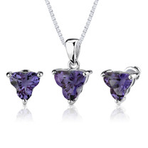 Ultimate Magic: 10.75 carat Tri Flower Cut Alexandrite Pendant Earring Set in Sterling Silver Style SS2546