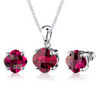 Classic Delight: 10.00 carat Checkerboard Lily Cut Ruby Pendant Earring Set in Sterling Silver Style SS2610