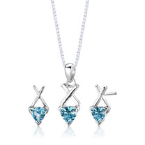 Sterling Silver 2.00 Carats Trillion Cut London Blue Topaz Pendant Earrings Set Style SS2630