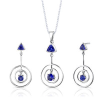 Sterling Silver Multishape Sapphire Pendant Earrings Set Style SS2648
