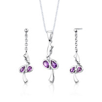 Sterling Silver 1.50 Carats Pear Shape Amethyst Pendant Earrings Set Style SS2692