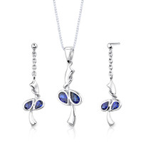 Sterling Silver Pear Shape Sapphire Pendant Earrings Set Style SS2704