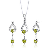 Sterling Silver 2.00 Carats Multishape Peridot Pendant Earrings Set Style SS2752