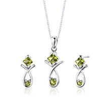 Sterling Silver 2.00 Carats Multishape Peridot Pendant Earrings Set Style SS2780