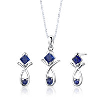Sterling Silver Multishape Sapphire Pendant Earrings Set Style SS2788