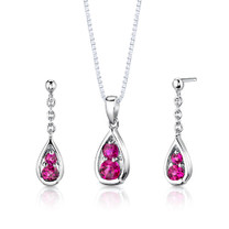 Sterling Silver Round Shape Ruby Pendant Earrings Set Style SS2800