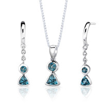 Sterling Silver 1.50 Carats London Blue Topaz Pendant Earrings Set Style SS2812