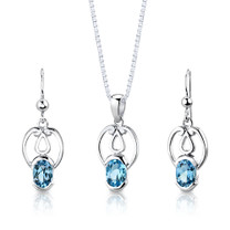 Sterling Silver 2.50 Carats Oval Shape Swiss Blue Topaz Pendant Earrings Set Style SS2852