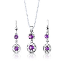 Sterling Silver 2.00 Carats Round Shape Amethyst Pendant Earrings Set Style SS2888