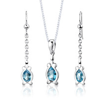 Sterling Silver 2.25 Carats Pear Shape Swiss Blue Topaz Pendant Earrings Set Style SS2950