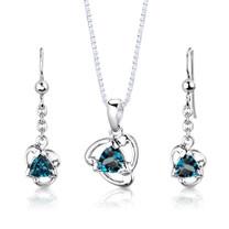 Sterling Silver 2.75 Carats Trillion Cut London Blue Topaz Pendant Earrings Set Style SS2980