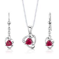 Sterling Silver Trillion Cut Ruby Pendant Earrings Set Style SS2982